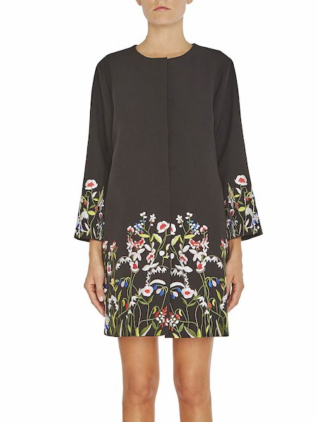 Floral embroidery coat - Black - 1 ...