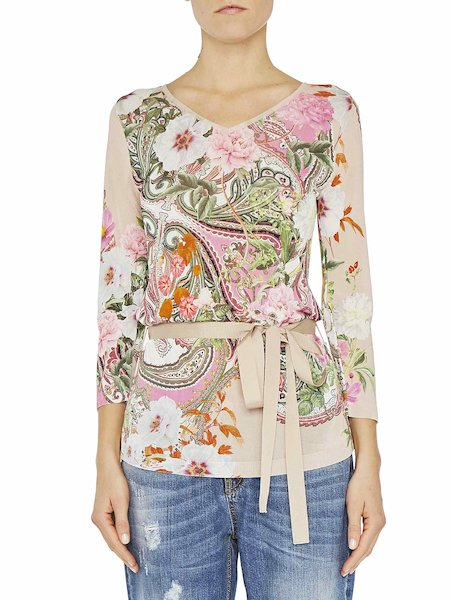 Paisley print top with tie waist