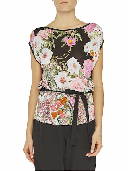 Short-sleeved top with tie waist