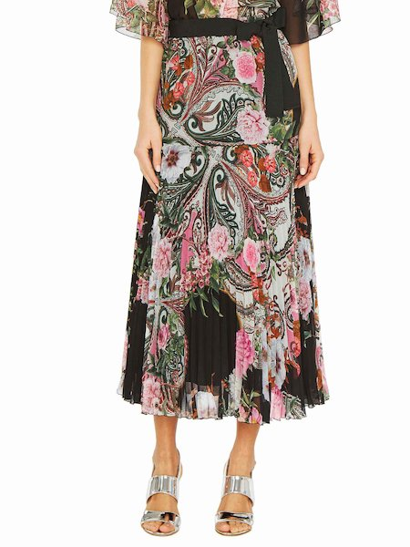 Paisley print pleated skirt