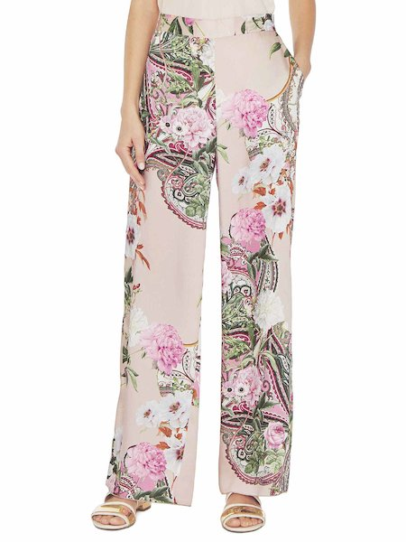 Paisley print wide-leg trousers