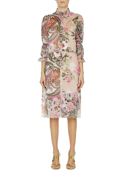 Shirt dress with paisley print