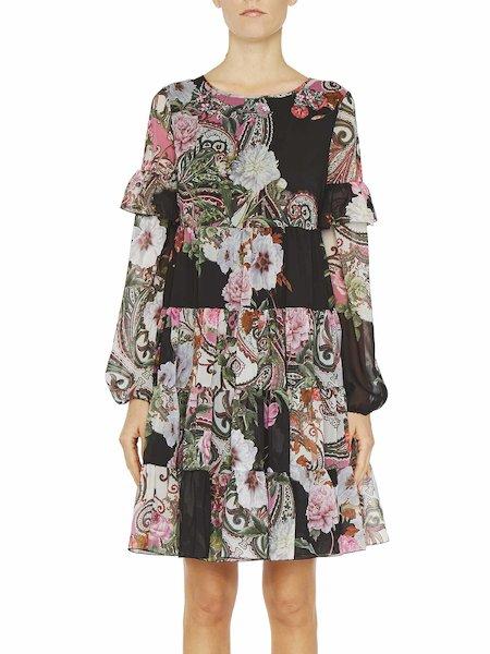 Платье с принтом «пейсли» и оборками