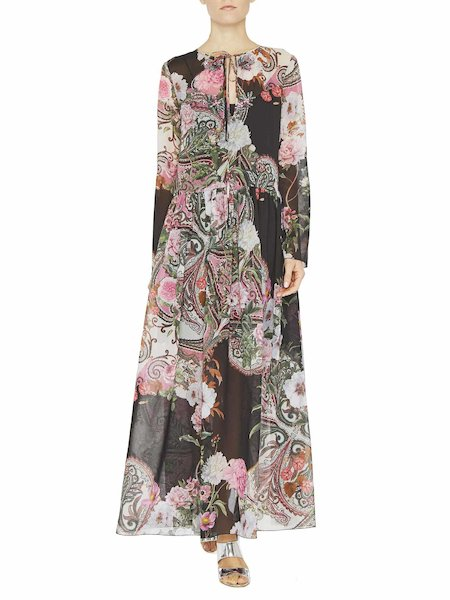 Paisley print maxi dress with embroidery