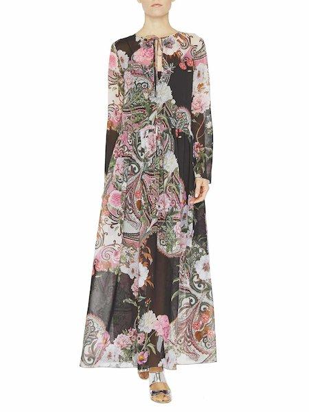 Длинное платье с принтом «пейсли» и вышивкой