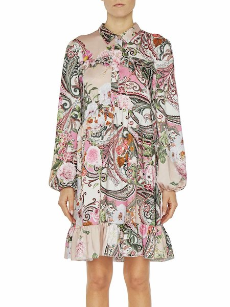 Paisley print midi dress with flounce