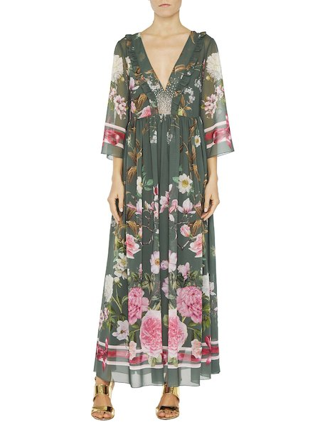 Floral print maxi dress with rhinestones