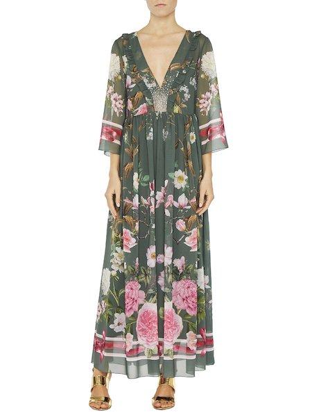 Длинное платье с цветочным принтом и стразами