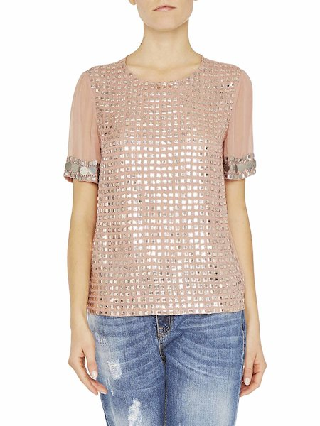 Short-sleeved blouse with sequins