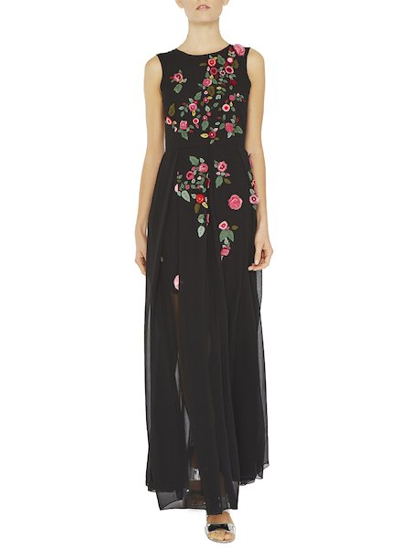 Maxi dress with embroidered roses