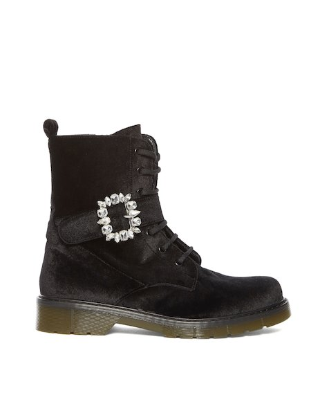 Low velvet boots with zipper and buckle with crystals - Black
