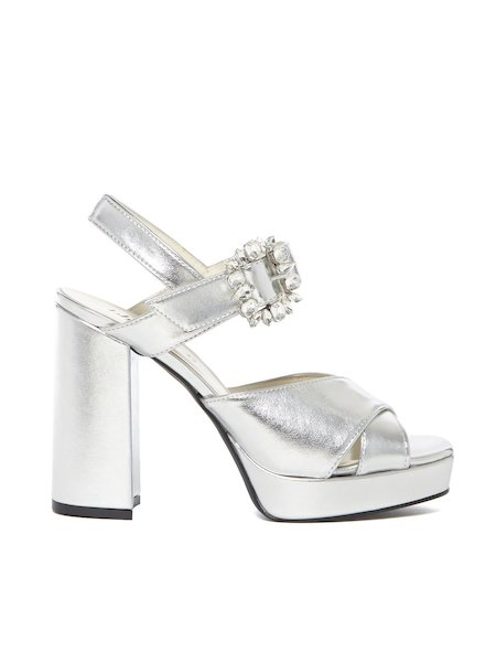 Laminated sandals with buckle - Grey