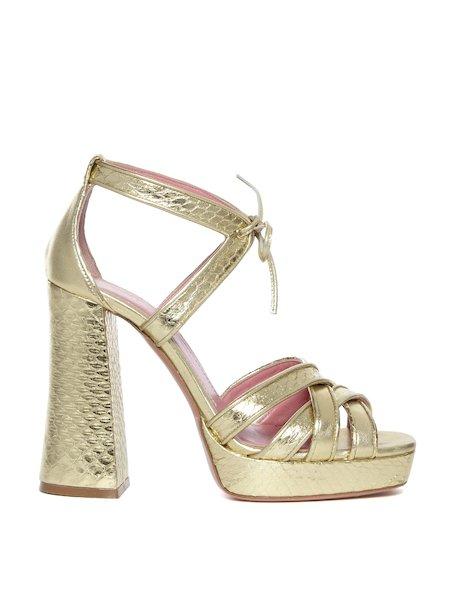 Sandals in metallic snakeskin
