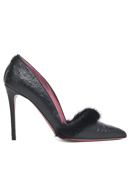 High-heel pumps trimmed with mink