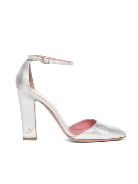 Silver-toned leather shoes with little strap - Grey