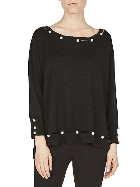 Langärmliger Pullover mit Perlen - Schwarz