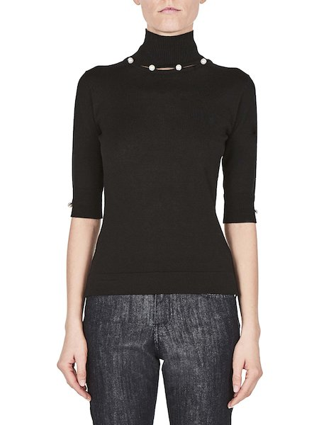 Mock turtleneck sweater with pearls