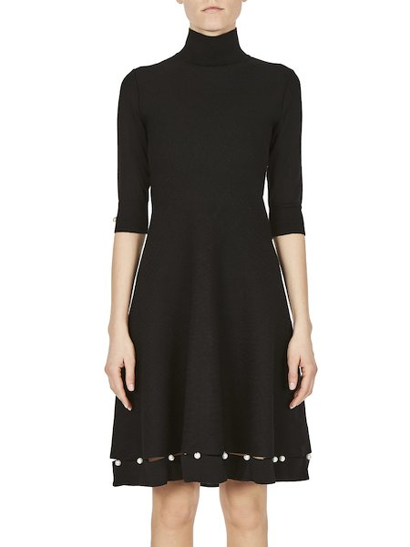 Wool dress with pearls - Black
