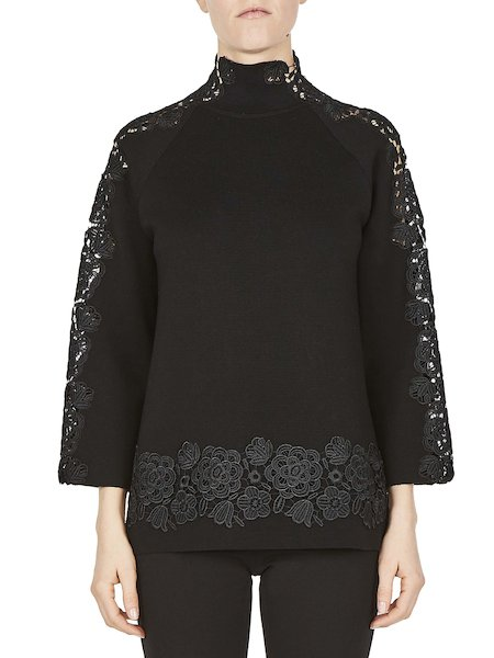 Roomy sweater with turtleneck featuring lace - Black