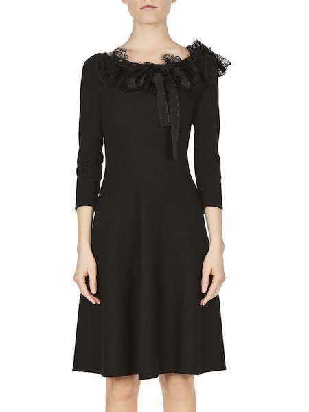 Knit dress with lace and ribbon - Black