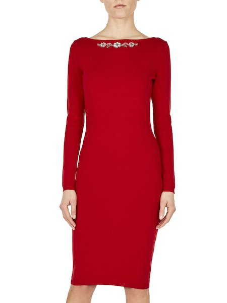 Knit dress with embroidery - red