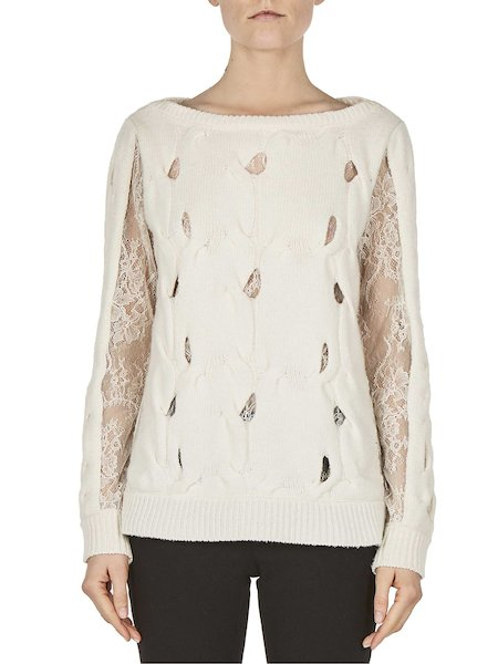 Sweater with lace and fancy openwork
