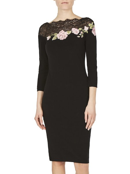 Sweater with lace and rose embroidery - Black