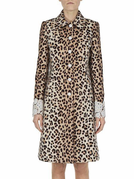 Animalier-print overcoat with lace - Spotted