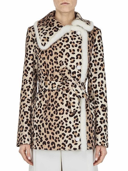 Car coat with leopard-spot print, featuring mink trim