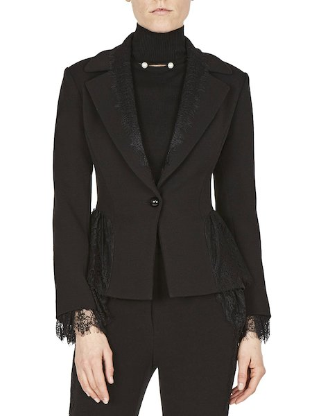 Suit jacket with lace - Black