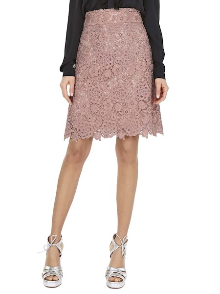 Skirt in macramé lace - pink