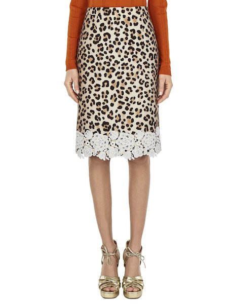 Animalier-print skirt with lace - Spotted