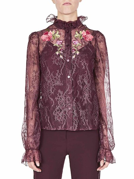 Shirt in lace with roses - Purple