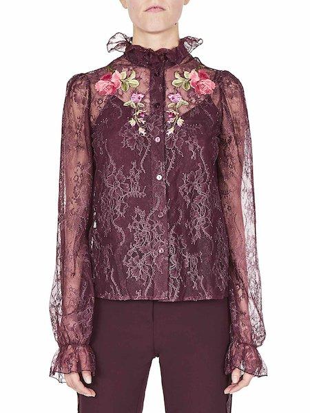 Camicia in Pizzo Con Rose
