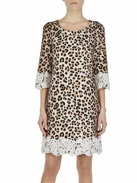 Animalier-print dress with lace - Spotted