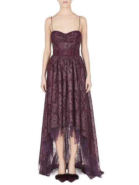 Dress in lace with rhinestones - Purple