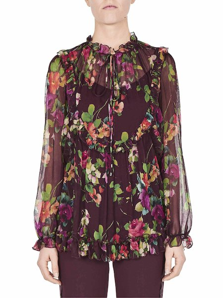 Floral-print blouse with ruffles - Purple