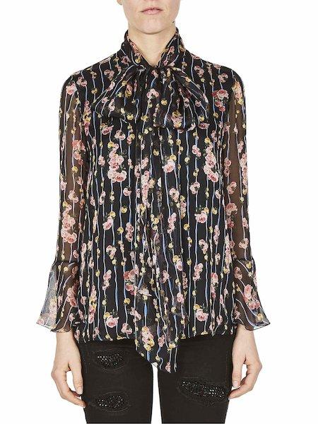 Blusa Stampata Con Fiocco - Multicolore