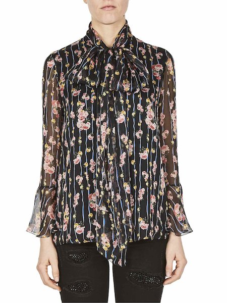 Bedruckte Bluse mit Schleife