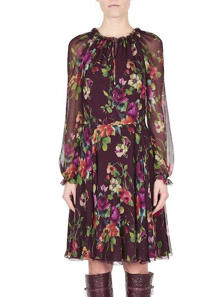 Платье с цветочным принтом и рюшами
