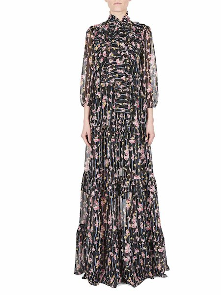 Bedrucktes langes Kleid