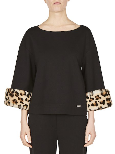 Blouse with details in printed rabbit fur - Black