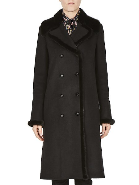 Overcoat flourishing mink details - Black