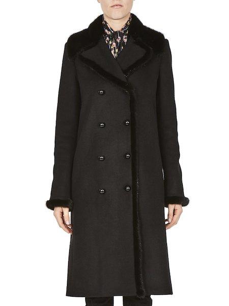 Manteau orné de détails en vison