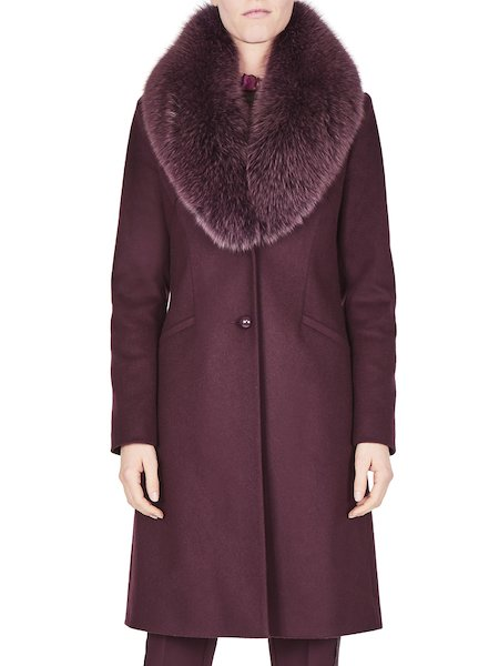 Overcoat with fox collar