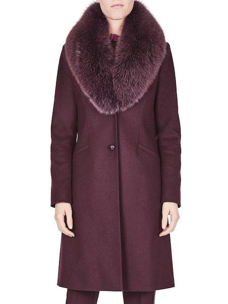 Overcoat with fox collar - Purple