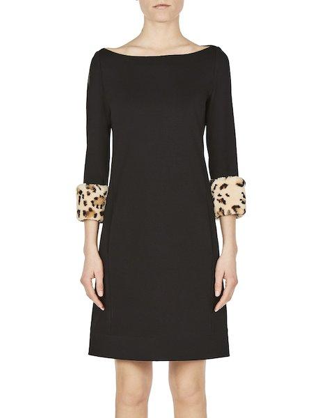 Vestido de punto con piel de conejo estampada - Negro