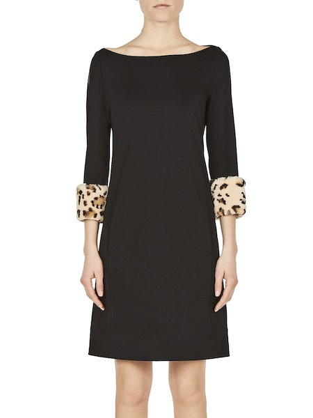 Dress in jersey with printed rabbit fur