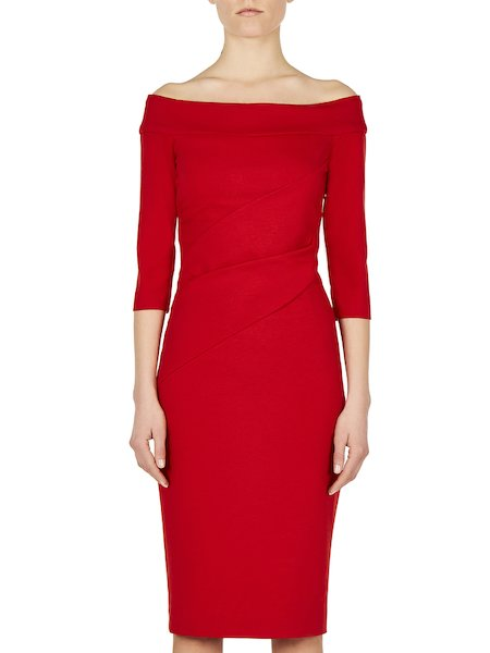 Dress in jersey with draped styling - red