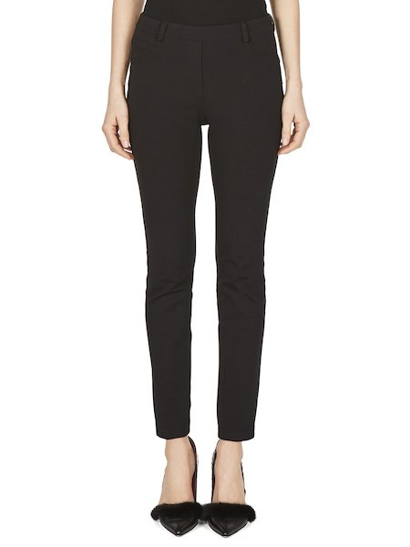 Cigarette-leg trousers in jersey - Black